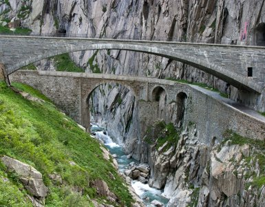 Old and New Devil's Bridge in Andermatt, Switzerland