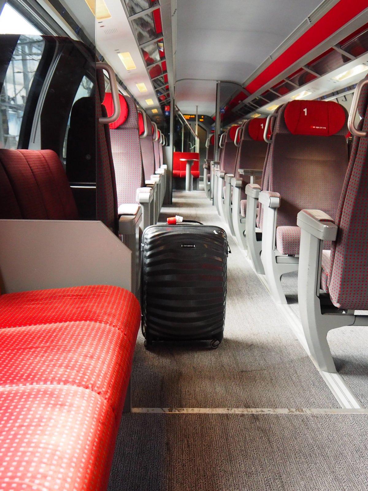 Swiss train first class cabin on SBB