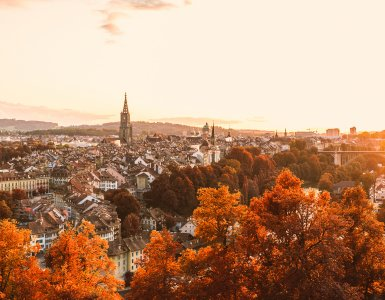 Autumn in Switzerland - Old Town of Bern during Sunset