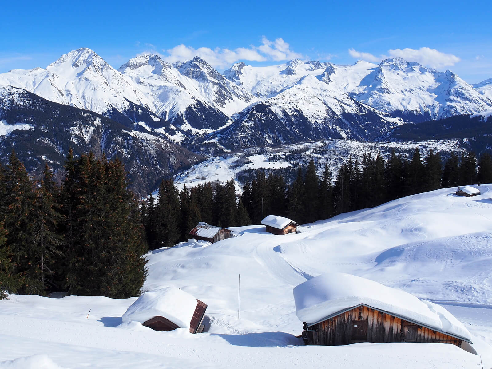 View of the Disentis Ski Resort in March 2021