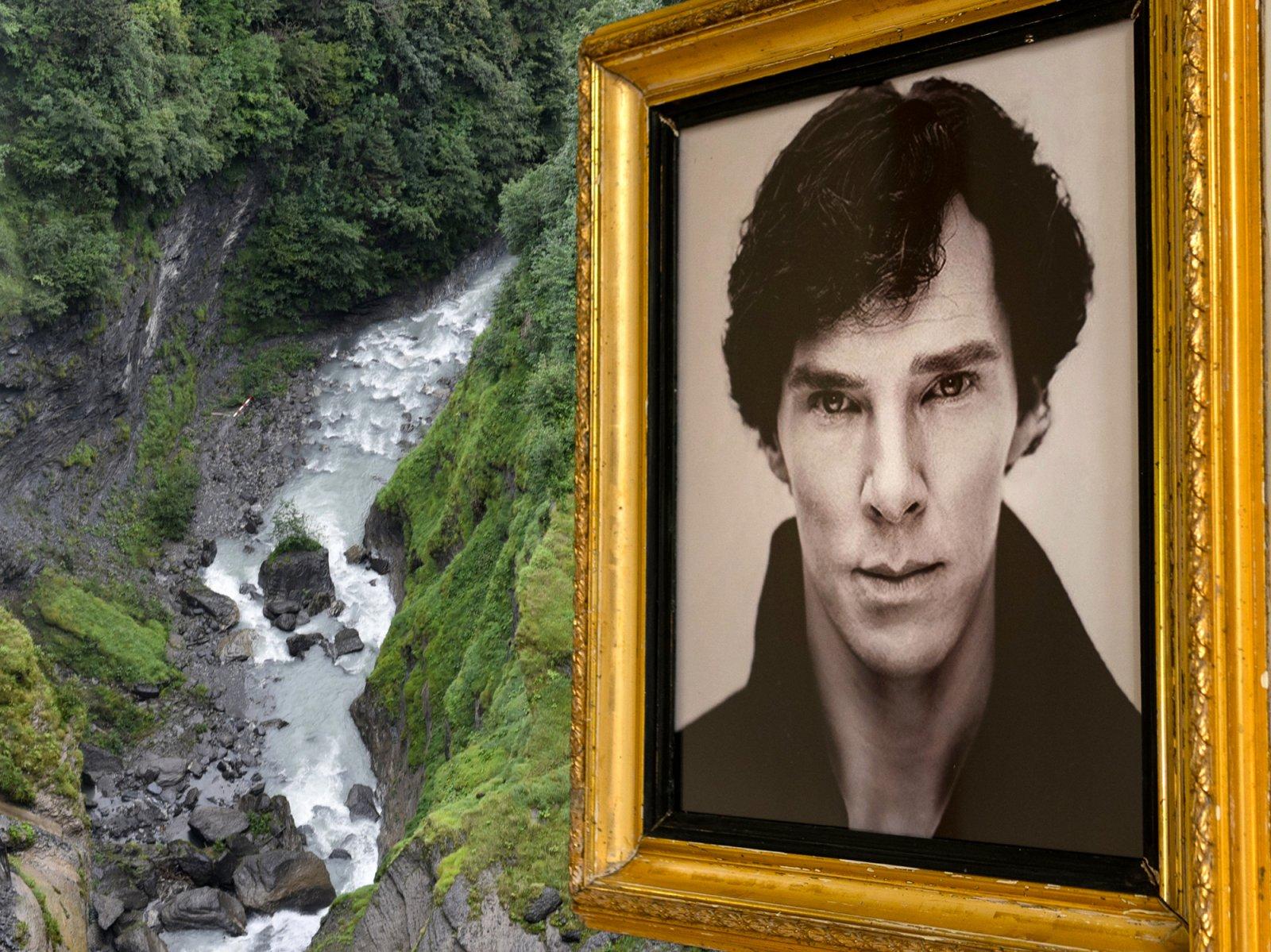 Reichenbach Falls and Sherlock Holmes in Meiringen